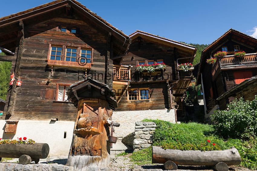 Switzerland, Canton Valais, Ayer VS at Val d'Anniviers: historic houses | Schweiz, Kanton Wallis, Ayer VS im Val d'Anniviers (Eifischtal): historische Haeuser