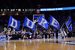 GREENVILLE, SC - MARCH 19: Duke University cheerleaders take the court during the 2017 NCAA Men's Basketball Tournament held at Bon Secours Wellness Arena on March 19, 2017 in Greenville, South Carolina. (Photo by Grant Halverson/NCAA Photos via Getty Images)