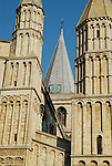 Close-up of Rochester Cathedral spire and towers