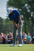 Tiger Woods (USA) watches his putt on 12 during 1st round of the World Golf Championships - Bridgestone Invitational, at the Firestone Country Club, Akron, Ohio. 8/2/2018.<br /> Picture: Golffile | Ken Murray<br /> <br /> <br /> All photo usage must carry mandatory copyright credit (&copy; Golffile | Ken Murray)