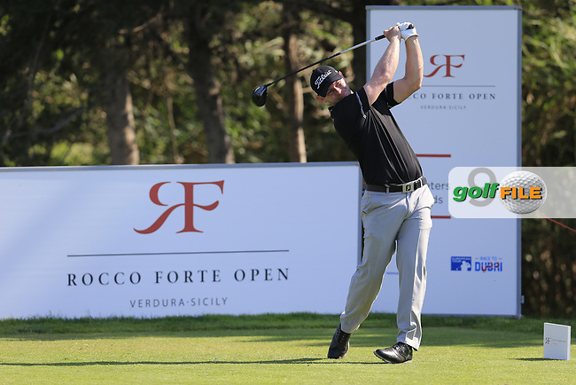 Scott Henry (SCO) on the 9th during the 1st round the The Rocco Forte Open, Verdura Golf &amp; Spa Resort, Agrigento, Sicily, Italy. 18/05/2017.<br /> Picture: Golffile | Fran Caffrey<br /> <br /> <br /> All photo usage must carry mandatory copyright credit (&copy; Golffile | Fran Caffrey)