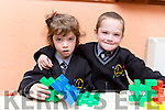 Twins Emily and Paul O Conchúir on their first day at school in Gaelscoil Aogain Castleisland on Tuesday