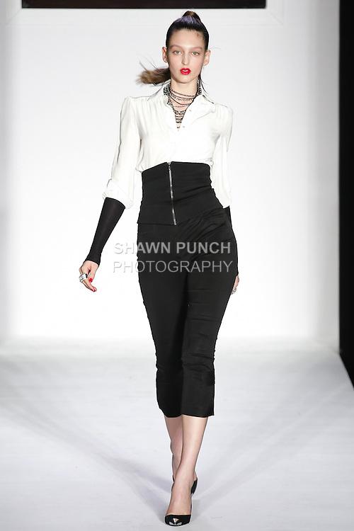 Georgina walks runway in a bebeBlack Fall 2011 outfit, at the Style 360 Fall 2011 fashion show, during New York Fashion Week.
