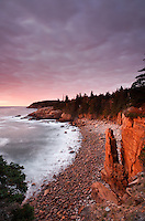 Monument, Monument Cove and Boulder Beach at dawn, Acadia National Park, near Bary Harbor, Maine, USA