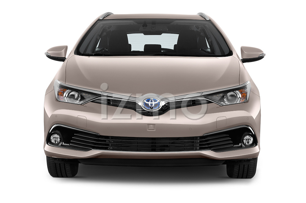 Car photography straight front view of a 2015 Toyota Auris Touring Sports Business Plus 5 Door Wagon Front View