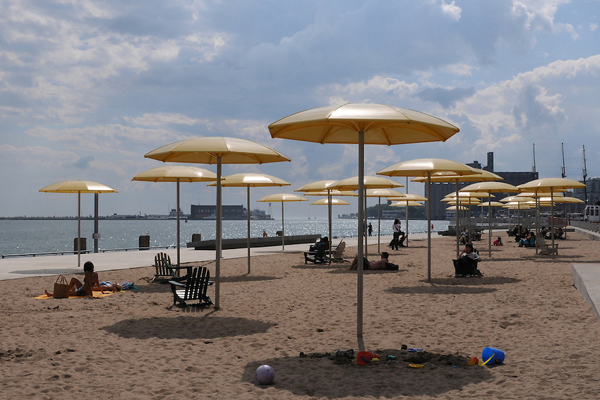 A fun little stretch of manmade beach in the Downtown Toronto, Harbourfront neighbourhood