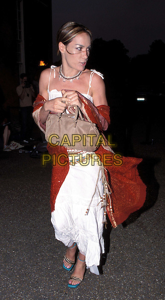 TARA PALMER TOMKINSON..Leaving Tatler party, at the Orangery, Kensington Gardens..beaded belt, white gypsy skirt, indian fashion, turquoise heals, shells, full length, full-length, clutching bag..www.capitalpictures.com..sales@capitalpictures.com..©Capital Pictures