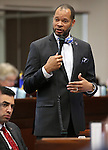 Nevada Senate Minority Leader Aaron Ford, D-Las Vegas, speaks on the Senate floor at the Legislative Building in Carson City, Nev., on Tuesday, April 7, 2015. <br /> Photo by Cathleen Allison