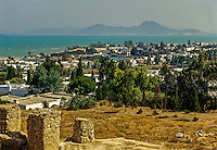 Carthage, Tunisia.  Punic Ports, now resembling small lakes  bordered by luxurious homes, date from the 4th. Century B.C.  Bay of Tunis in background.