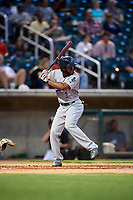 Pensacola Blue Wahoos center fielder C.J. McElroy (2) at bat during a game against the Birmingham Barons on May 8, 2018 at Regions Field in Birmingham, Alabama.  Birmingham defeated Pensacola 5-2.  (Mike Janes/Four Seam Images)