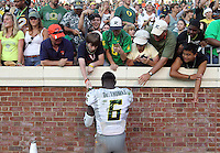Oregon running back De'Anthony Thomas (6) Oregon defeated Virginia 59-10 during an NCAA college football game at Scott Stadium, Saturday, Sept. 7, 2013, in Charlottesville, Va. (Photo/Andrew Shurtleff)
