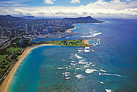 Aerial view of ala moana beach park to waikiki
