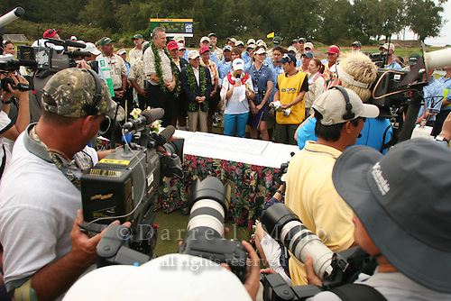 February 18, 2006; Kahuku, HI - Joo Mi Kim (center with mic) gives her thank you speech during the awards ceremony after winning the LPGA SBS Open at Turtle Bay Resort...Mandatory photo credit: Darrell Miho.© Darrell Miho