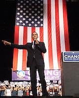 Barack Obama speaks to a crowd of 8,000 plus in San Antonio at the Verizon Wireless Ampitheater  (Marvin Pfeiffer/PressPhotoIntl.com)