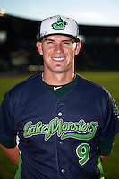 Vermont Lake Monsters pitcher Cody Kurz (9) poses for a photo before a game against the Hudson Valley Renegades on September 3, 2015 at Centennial Field in Burlington, Vermont.  Vermont defeated Hudson Valley 4-1.  (Mike Janes/Four Seam Images)
