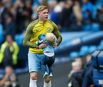 Kevin De Bruyne of Manchester City picks up his son Mason during the English Premier League match at the Etihad Stadium, Manchester. Picture date: May 13th 2017. Pic credit should read: Simon Bellis/Sportimage