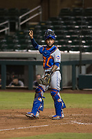 Scottsdale Scorpions catcher Ali Sanchez (25), of the New York Mets organization, during an Arizona Fall League game against the Salt River Rafters at Salt River Fields at Talking Stick on October 11, 2018 in Scottsdale, Arizona. Salt River defeated Scottsdale 7-6. (Zachary Lucy/Four Seam Images)