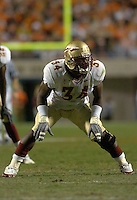 24 September 2005:  Ernie Sims (34)..The Virginia Cavaliers upset the #4 Florida State Seminoles 26-21 at Scott Stadium in Charlottesville, VA.