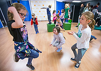 NWA Democrat-Gazette/BEN GOFF @NWABENGOFF<br /> Bridget Davis (from left), 8, Caroline Fitzgibbons, 9, Nevaeh Bitter, 8, dance during a choreography exercise Tuesday, March 19, 2019, during the 'Broadway in Bentonville' spring break day camp at Trike Theatre in Bentonville. Kindergarten through 6th grade students develop their acting, singing and dancing skills studying a popular Broadway musical each day of the camp.