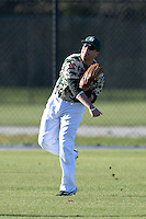 Slippery Rock outfielder C.J. Nocera (30) during warmups before a game against Upper Iowa University at Frank Tack Field on March 14, 2014 in Clearwater, Florida.  Slippery Rock defeated Upper Iowa 14-9.  (Mike Janes/Four Seam Images)