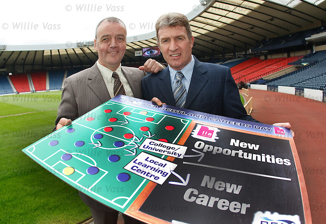 Frank McGarvey and Sandy Jardine at Hampden to promote the PFA Scotland Careers day and talk about the Scottish Cup semi fnal matches