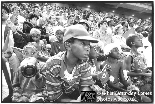 Gabon 1 Tunisia 1, 28/06/1996. Kings Park Stadium, Durban. African Cup of Nations, South Africa 1996. Local fans turn out to support Tunisia in the quater-final. Photo by Tony Davis