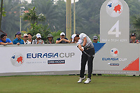 Gavin Green (Asia) on the 4th tee during the Saturday Foursomes of the Eurasia Cup at Glenmarie Golf and Country Club on the 13th January 2018.<br /> Picture:  Thos Caffrey / www.golffile.ie