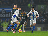 Brighton & Hove Albion's Beram Kayal (right) battles with Leicester City's Danny Simpson (centre)<br /> <br /> Photographer David Horton/CameraSport<br /> <br /> The Premier League - Brighton and Hove Albion v Leicester City - Saturday 24th November 2018 - The Amex Stadium - Brighton<br /> <br /> World Copyright © 2018 CameraSport. All rights reserved. 43 Linden Ave. Countesthorpe. Leicester. England. LE8 5PG - Tel: +44 (0) 116 277 4147 - admin@camerasport.com - www.camerasport.com