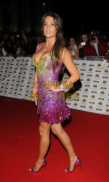DANIELLE LLOYD.MOBO Awards at Wembley Arena, London, England. .October 15th, 2008 .MOBOS music of black origin full length green pink purple sequins sequined beads beaded dress hand on hip .CAP/CAN.©Can Nguyen/Capital Pictures.