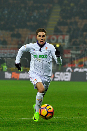 February 19th 2017, San Siro, Milan, Italy; Federico Chiesa of fiorentina in action during  Serie A football, AC Milan versus Fiorentina;
