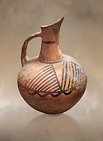 Cycladic ceramic jug with painted linear decoration. Cycladic II (2800-2300 BC) , Chalandriani, Syros. National Archaeological Museum Athens. Cat no 4969