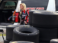 Mar 13, 2015; Gainesville, FL, USA; NHRA funny car driver Courtney Force during qualifying for the Gatornationals at Auto Plus Raceway at Gainesville. Mandatory Credit: Mark J. Rebilas-USA TODAY Sports