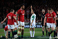 Referee Romain Poite indicates a late penalty to the All Blacks during the 2017 DHL Lions Series rugby union 3rd test match between the NZ All Blacks and British & Irish Lions at Eden Park in Auckland, New Zealand on Saturday, 8 July 2017. Photo: Dave Lintott / lintottphoto.co.nz