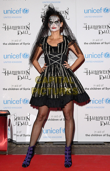 LONDON, ENGLAND - OCTOBER 31: Saffron Aldridge at the UNICEF UK Halloween Ball, One Mayfair, North Audley St., on October 31, 2013 in London, England, UK.<br /> CAP/ROS<br /> &copy;Steve Ross/Capital Pictures