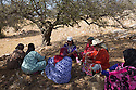 """Morocco - Tidzi - Members of the Ajddigue cooperative sit under the shade of the Argan tree for a lunch break. The cooperative produces around 20 tons of argan oil per year, with a turnover of around 100,000 euros. Despite having contributed to the empowerment of thousands of rural women, the argan oil cooperatives are now threatened by the industrial plants set up in Casablanca and Agadir, which are able to extract much more oil in less time. """"Our cooperatives might disappear in 5 or 10 years"""" confesses Zahra Knabo, the director at Ajddigue."""