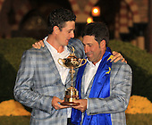 Winning captain Jose Maria Olazabal and Justin Rose with the Ryder Cup at the end of Sunday's singles matches at the Ryder Cup 2012, Medinah Country Club,Medinah, Illinois,USA 30/09/2012.Picture: Fran Caffrey/www.golffile.ie.