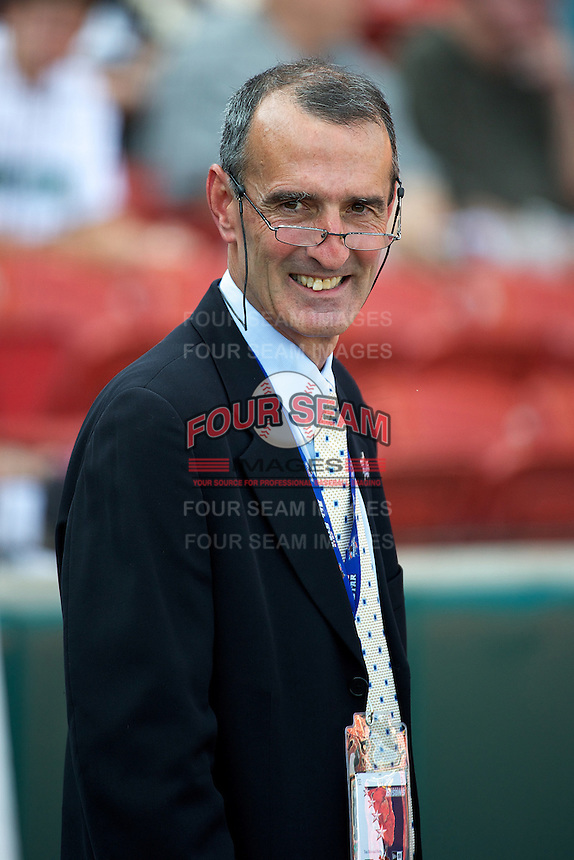 International League president Randy Mobley during the Triple-A All-Star game featuring the Pacific Coast League and International League top players at Coca-Cola Field on July 11, 2012 in Buffalo, New York.  PCL defeated the IL 3-0.  (Mike Janes/Four Seam Images)