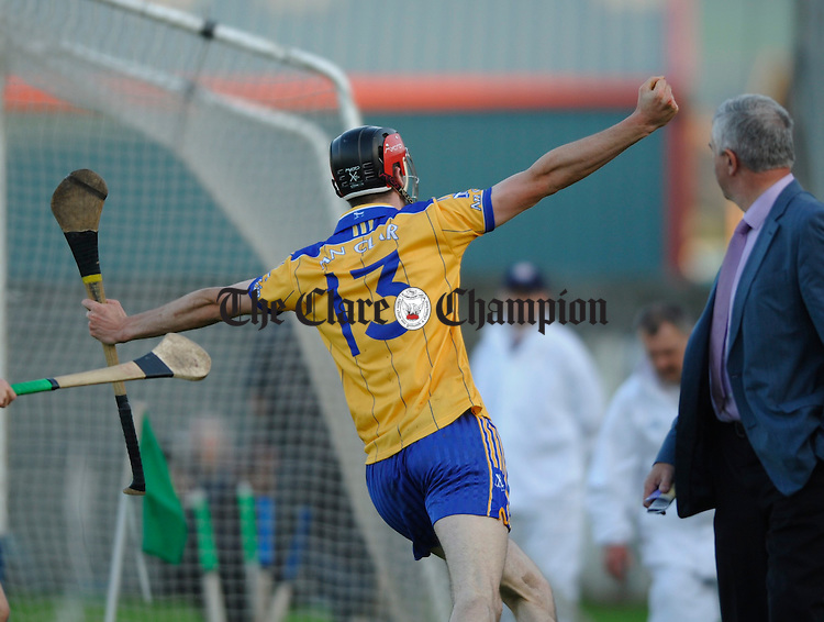 Darach Honan celebrates Clares second goal   at the U-21 Munster hurling final in Dungarvan. Photograph by John Kelly.