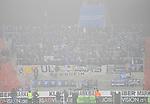 Die Gaestefans aus Manheim beim Spiel in der Regionalliga Suedwest SV Spielberg - SV Waldhof Mannheim.<br /> <br /> Foto © PIX-Sportfotos *** Foto ist honorarpflichtig! *** Auf Anfrage in hoeherer Qualitaet/Aufloesung. Belegexemplar erbeten. Veroeffentlichung ausschliesslich fuer journalistisch-publizistische Zwecke. For editorial use only.