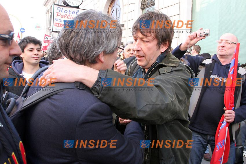 Maurizio Landini e Luca Casarin.Roma 09/03/2012 Manifestazione della FIOM contro il governo e in difesa dell'Articolo 18..Photo Samantha Zucchi Insidefoto