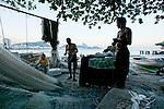 Fishing Village at Copacabana, Rio de Janeiro, Brazil.