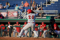 Auburn Doubledays Wilmer Perez (20) at bat during a NY-Penn League game against the Batavia Muckdogs on June 18, 2019 at Dwyer Stadium in Batavia, New York.  Batavia defeated Auburn 7-5.  (Mike Janes/Four Seam Images)