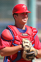 Philadelphia Phillies minor league catcher James Klocke vs. the Toronto Blue Jays in an Instructional League game at Englebert Minor League Complex in Dunedin, Florida;  October 7, 2010.  Photo By Mike Janes/Four Seam Images
