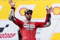 3rd November 2019; Sepang Circuit, Sepang Malaysia; MotoGP Malaysia, Race Day;  3rd placed Ducati Corse Team rider Andrea Dovizioso on the podium - Editorial Use