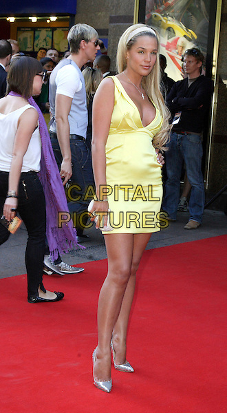 "DANIELLE LLOYD.World Premiere of ""Adulthood"" held at the Empire Leicester Square, London, England, UK, June 17th 2008.arrivals full length yellow dress hairband silver shoes clutch bag purse.CAP/ROS.©Steve Ross/Capital Pictures"