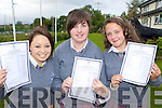 Full of joy after receiving the Junior Cert results on Wednesday in the Intermediate School Killorglin was l-r: Emma Cronin, Maura Healy and Emma Joy