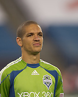 Seattle Sounders FC midfielder Osvaldo Alonso (6). The New England Revolution defeated the Seattle Sounders FC, 3-1, at Gillette Stadium on September 4, 2010.