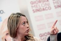 Roma 6 Maggio 2016<br /> Giorgia Meloni.<br /> Presentazione delle liste a sostegno di Giorgia Meloni a Sindaca di Roma<br /> ROME, ITALY - May 06: <br /> Giorgia Meloni.<br /> Presentation of the lists in support of Giorgia Meloni to mayor of Rome at the headquarters of the electoral campaign.<br /> on May 6, 2016 in Rome, Italy.