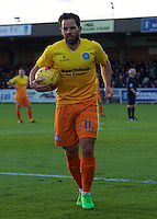 Sam Wood of Wycombe Wanderers during the Sky Bet League 2 match between AFC Wimbledon and Wycombe Wanderers at the Cherry Red Records Stadium, Kingston, England on 21 November 2015. Photo by Alan  Stanford/PRiME.