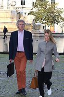 Nelson Monfort et son épouse Dominique - Hommage à Gonzague Saint Bris en l'église Saint-Sulpice à Paris, France - 28/09/2017